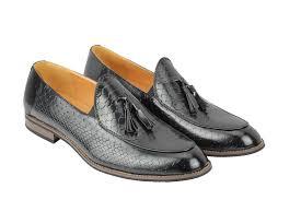 mens vintage snakeskin print shiny leather tassel loafers