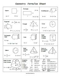 Geometry Formula Chart 25 Particular Geometry Reference Sheet