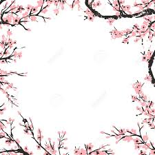 Branch Template Cherry Blossom Spring Floral Template With Hand Drawnes Branch