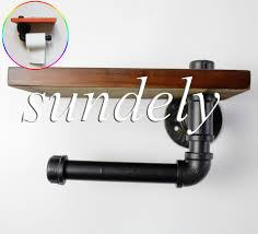 details about black industrial style retro iron pipe toilet paper holder with wood shelf diy