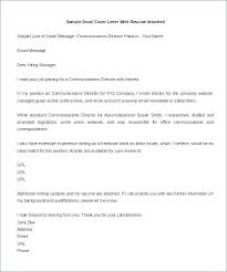 Examples Of Email Cover Letters Short Cover Letter Sample For Email
