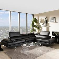 baxton studio selma 2 piece modern black faux leather upholstered right facing chase sectional sofa 4535 4536 hd the home depot