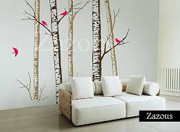 birch forest brown wall stickers on silver birch wall art stickers with birch forest brown wall stickers by zazous notonthehighstreet