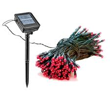 solar powered integrated led red outdoor string lights