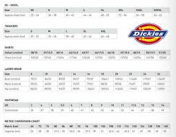 Cogent Dickies Clothing Size Chart Dickies Workwear Size
