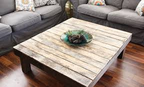 large square rustic wood coffee table