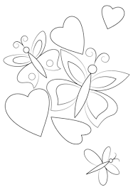 Small Picture Hearts and Butterflies coloring page Free Printable Coloring Pages