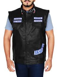 jax teller sons of anarchy motorcycle vest with patches s7