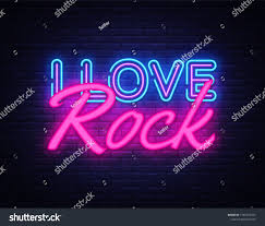 Light Rock Music I Love Rock Neon Text Vector Rock Music Neon Sign Design