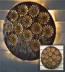 main image for lighted sunflower recycled oil drum lid wall art on sunflower wall art metal with lighted sunflower recycled oil drum lid wall art metal wall art
