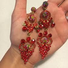 91 off jewelry red rhinestone chandelier earrings from red rhinestone earrings