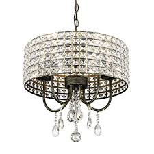 emliviar modern crystal chandelier five light pendant light ceiling lighting fixture with crystal beaded drum shade stressed black with gold finish
