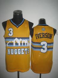 denver nuggets throwback jersey. nba denver nuggets 3 allen iverson swingman throwback yellow jersey