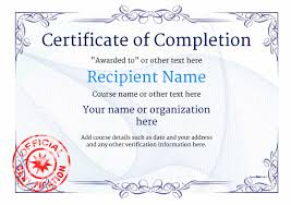 Printable Achievement Certificates Certificate Of Completion Free Quality Printable Templates Download