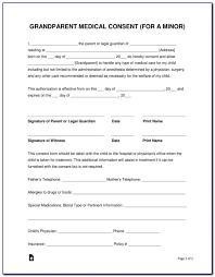 Medical Release Form For Grandparents Medical Consent Form For Grandparents Template Form Resume