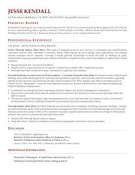 Personal Banker Resume Job Description Www Freewareupdater Com