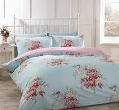 100 cotton flannelette single quilt duvet cover duck egg blue and pink fl bedding bed