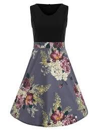 Floral Print Color Block Vintage Dress In Multi L Sammydress Com Print Color L