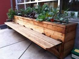 wooden bench planter boxes