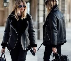 zara black aviator faux leather shearling fur collar biker jacket coat 2969 248