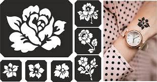 набор трафаретов для био тату блестками цветы 7 шт продажа цена в кривом роге