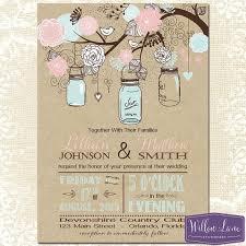 Vintage Wedding Invitation Mason Jar Wedding Invitation Kraft Pink And Blue Mason Jar Wedding