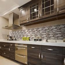 elegant jeffrey court mountain kitchen with brown gray glass l stick mosaic tile backsplash single handle long pull down faucet and dark brown cherry