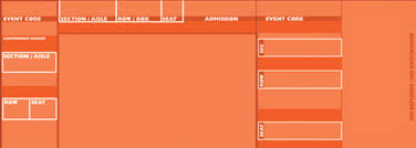 Blank Concert Ticket Template Orange Official Style Tickets By Freshtix Ticket Printing