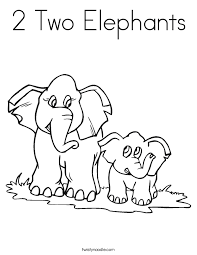 Small Picture 2 Two Elephants Coloring Page Twisty Noodle