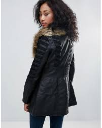 urban bliss black jacket with wide faux fur collar resistant to wear womens jackets gbueaplkxvwy
