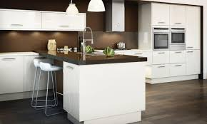 Second Nature Kitchen Doors Avant Alabaster Contemporary Gloss Kitchen In Cream