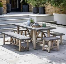 garden dining table with benches. cement fibre \u0026 hardwood garden dining set. indoor outdoor modern ~small table with benches n