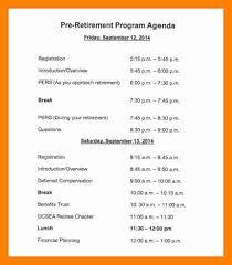 Party Agenda Templates Retirement Program Samples Free Download