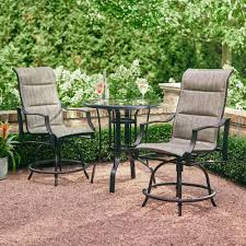 Hampton Bay Statesville Pewter 3 Piece Outdoor Balcony Height