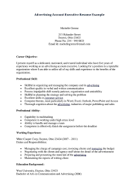 Job Resume Account Executive Resume Format Advertising Account