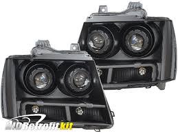 07-14 Chevrolet Tahoe Black Quad LED Headlights - HID Retrofit Kit