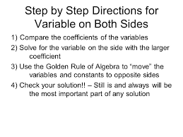 3 step by step directions for variable on both sides