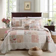 CHAUSUB Cotton Patchwork Quilt Set 3pcs/4pcs Korean Floral ... & CHAUSUB Cotton Patchwork Quilt Set 3pcs/4pcs Korean Floral Bedspread Bed  Cover Quilted Bedding Set Adamdwight.com