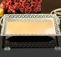 Decorative Serving Trays With Handles rectangle silvergold plated alloy metal serving tray fruit dish 20