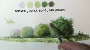 how to paint trees bushes in watercolor lessons by dennis clark you