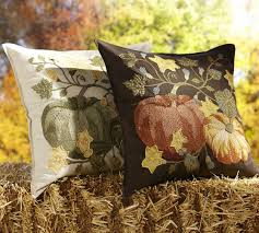 Charming Pumpkin Patch Crewel Embroidered Pillow Cover