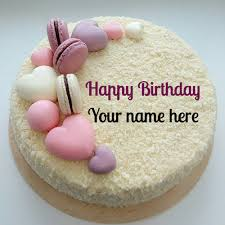 Vanilla Flavored Birthday Cake With Name For Dear Mom