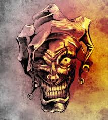 Fotka Fantazie Klaun Vtipálek Náčrt Tetování Nad špinavou Pozadí