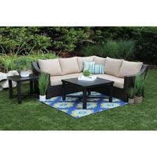 birch 5 piece resin wicker outdoor sectional with sunbrella canvas heather beige cushions