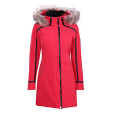 descente ruby coat with real fur trim women s