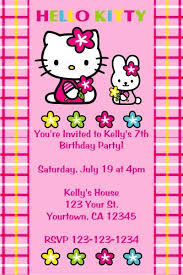 Printable Hello Kitty Invitations Personalized Hello Kitty Invitations Hello Kitty And Bunny Click To Personalize