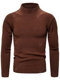Men's Solid Color Slim Sweater <b>Autumn Winter</b> Knit Turtleneck ...