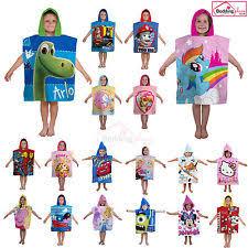 kids hooded beach towels. Hooded Poncho Beach Bath Towel Kids Children\u0027s Boys Girls Blue Pink 100% Cotton Towels
