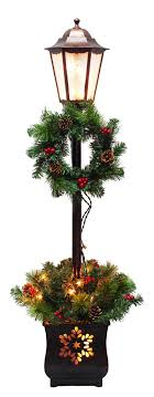 Puleo Pre Lit Lamp Post Wwreath And Greenery Planter 4 Ft