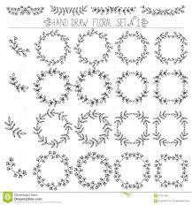 Easy Frame Design Drawing Set Of Hand Drawn Floral Design Elements Corners Frames
